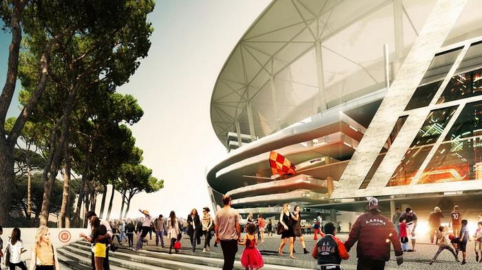 Новый стадион ФК Рома в современной интерпретации Колизея