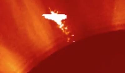 Ангел или НЛО возле Солнца 31 июля 2015 года