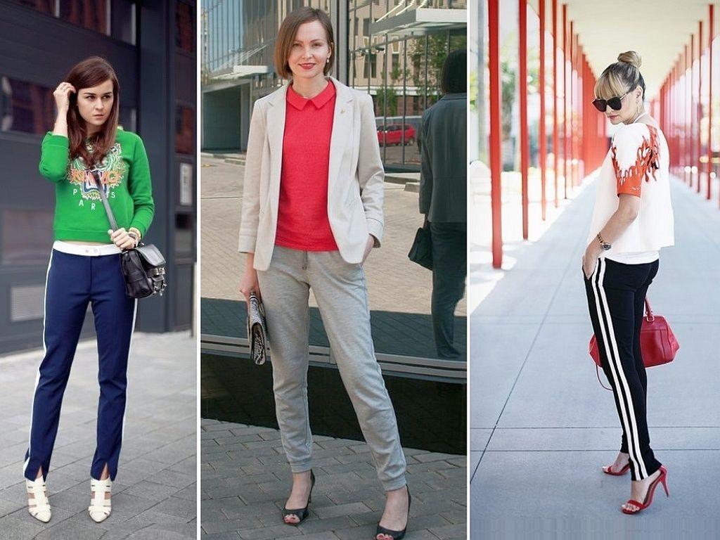 Необычный модный тандем: спортивные штаны и туфли